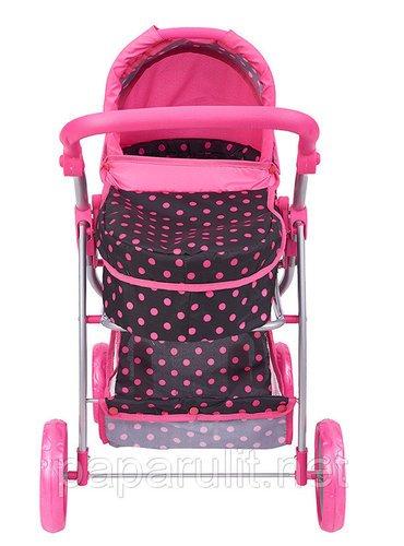 Кукольная коляска черная в горошек с сумочкой Buggy Boom 9000