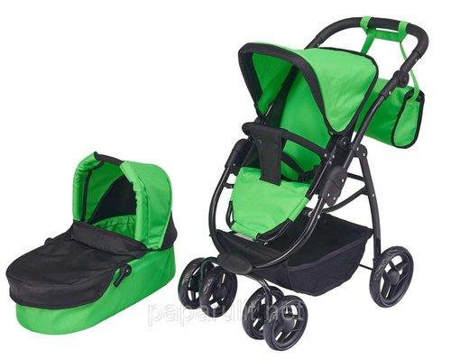 Зелёная кукольная коляска с сумочкой трансформер большая