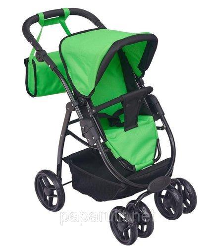 Зелёная кукольная коляска с сумочкой