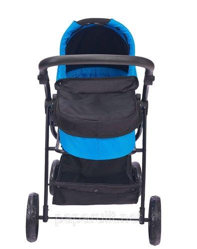 Кукольная коляска синяя