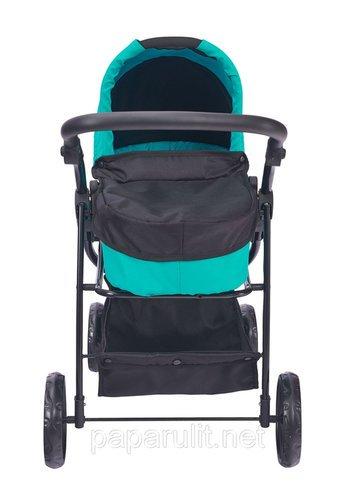 Кукольная коляска голубая