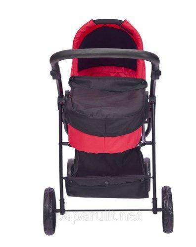 Кукольная коляска красная