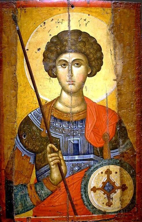 Святой Великомученик Георгий Победоносец. Византийская икона первой половины XIV века. Византийский музей в Афинах.