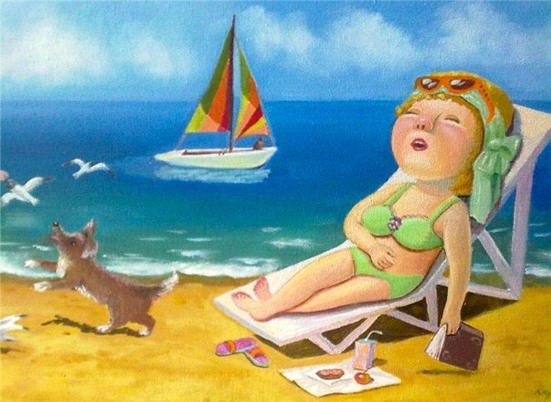 Открытки прикольные про отпуск на море