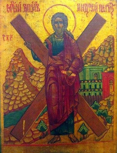 Святой Апостол Андрей Первозванный. Икона 19 века.