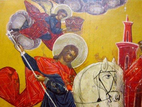 Чудо Святого Георгия о змие. Икона 19 века.