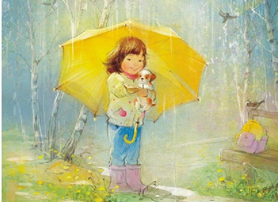 Картинки собаками, девочка под зонтиком открытка