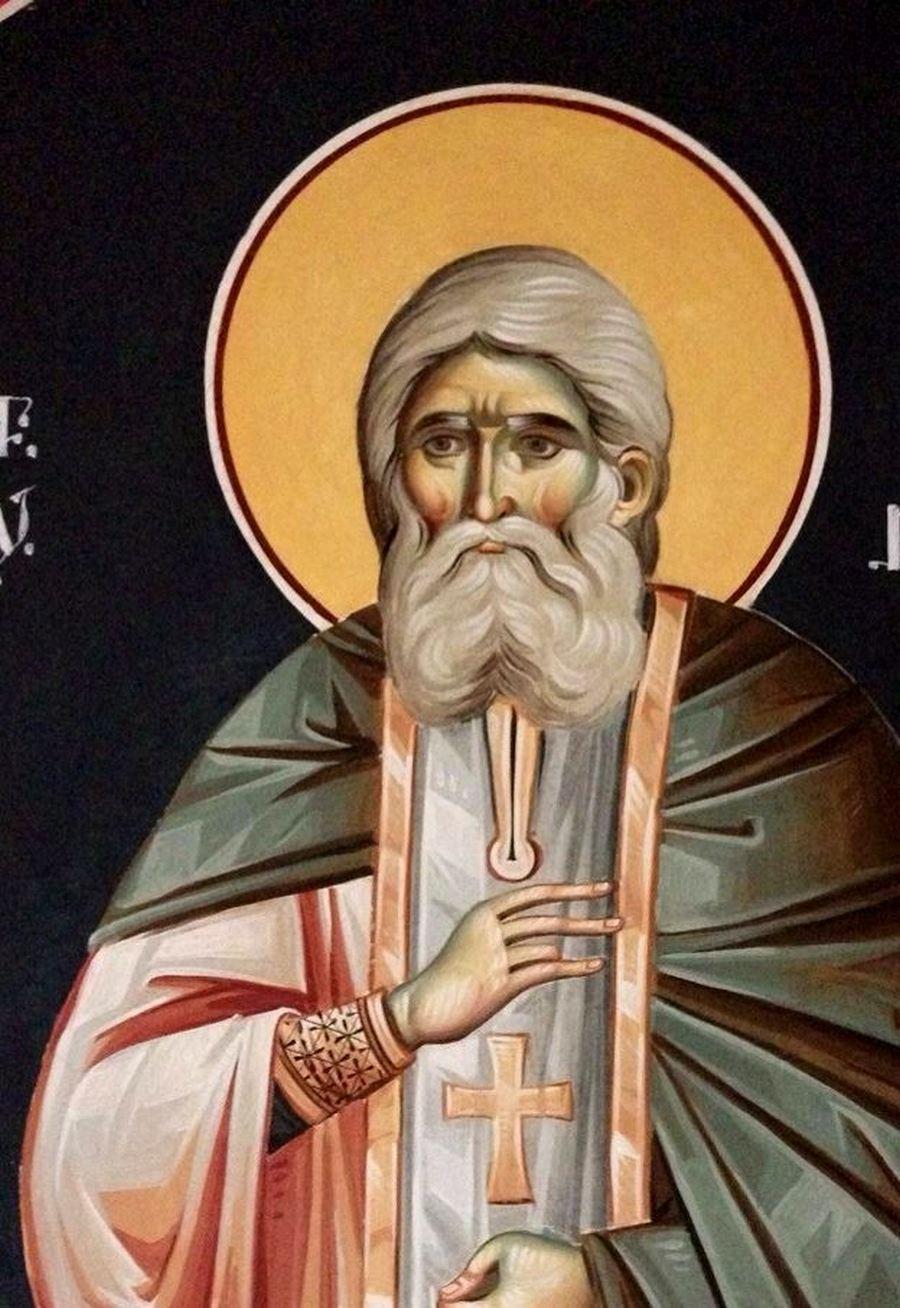 Святой Преподобный Серафим Саровский. Современная румынская фреска.