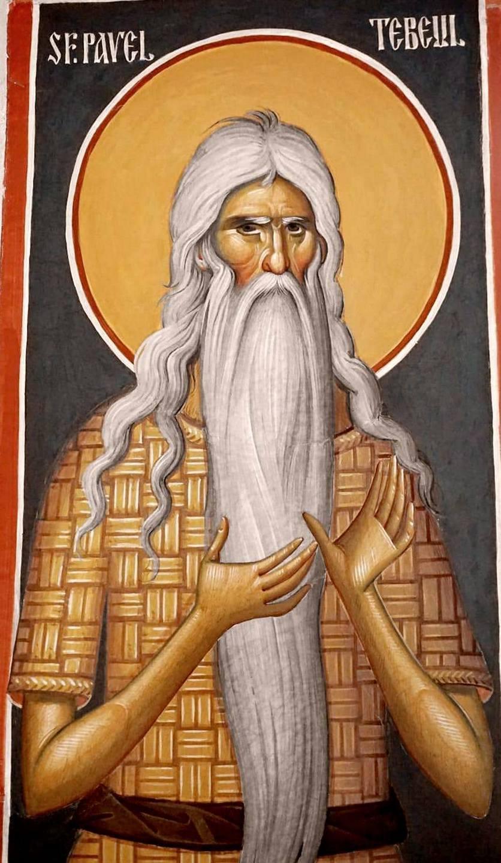 Святой Преподобный Павел Фивейский. Современная румынская церковная роспись.