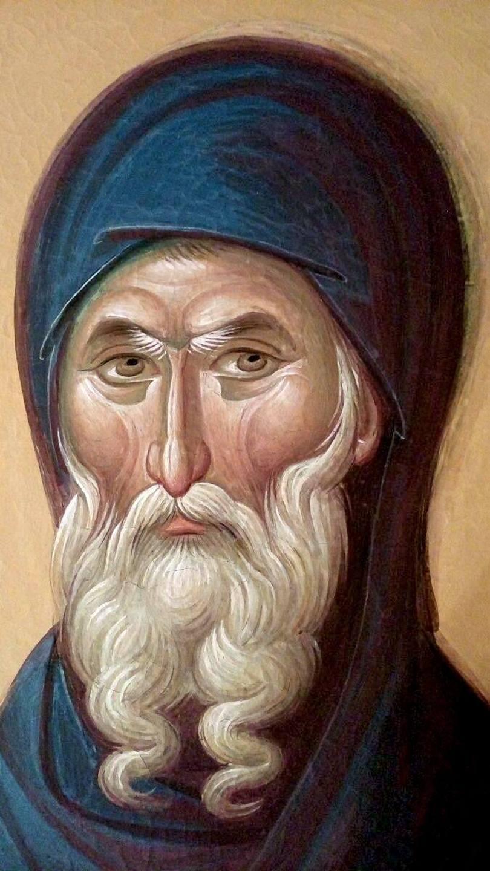 Святой Преподобный Антоний Великий. Современная румынская церковная роспись.