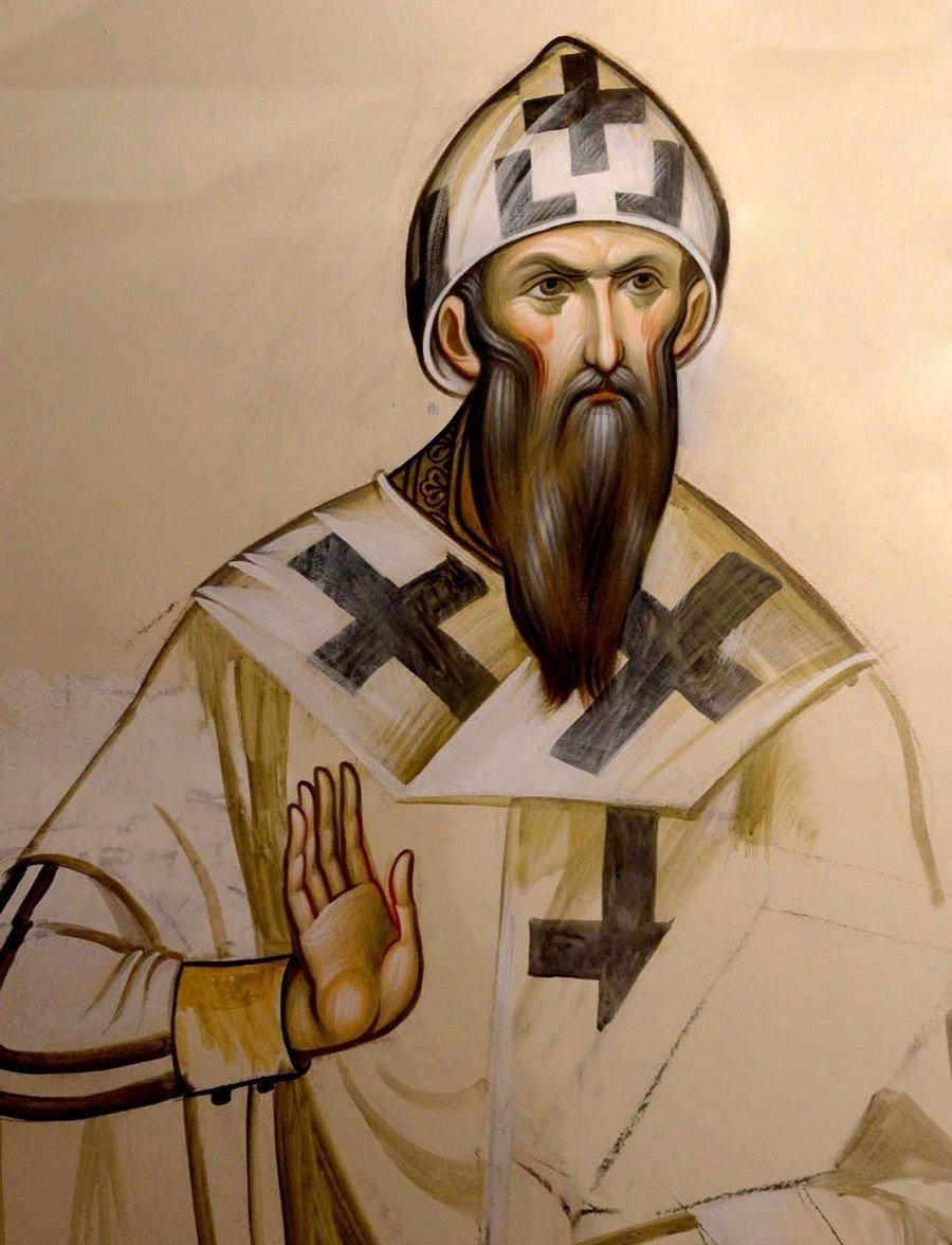 Святитель Кирилл, Архиепископ Александрийский. Современная церковная роспись.