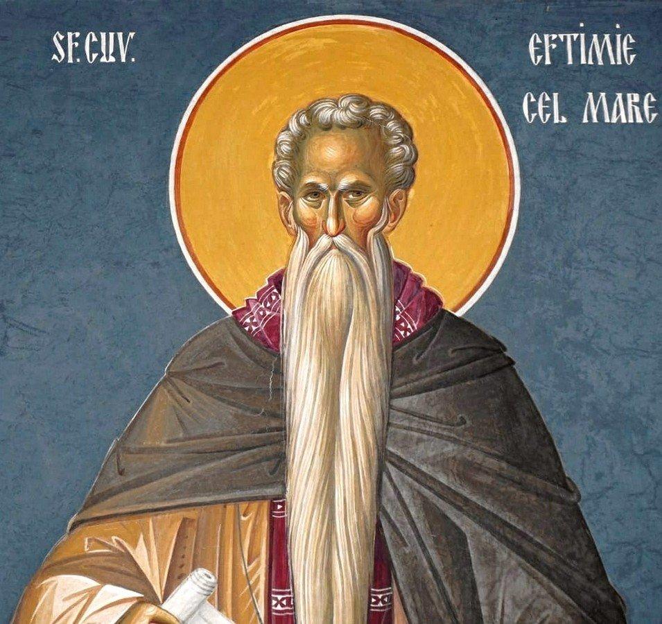 Святой Преподобный Евфимий Великий. Современная румынская церковная роспись.