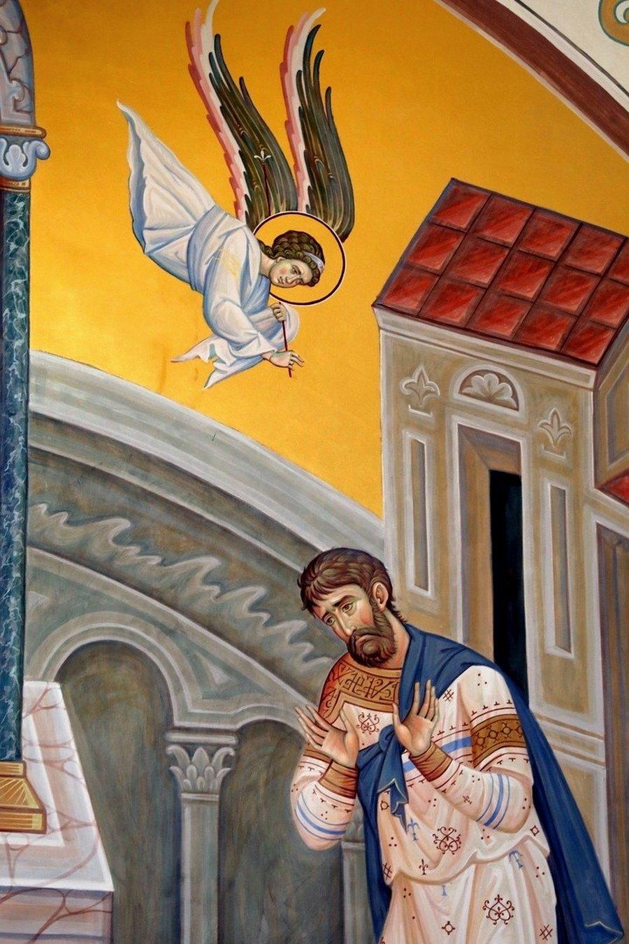 Притча о мытаре и фарисее. Современная церковная роспись. Фрагмент.