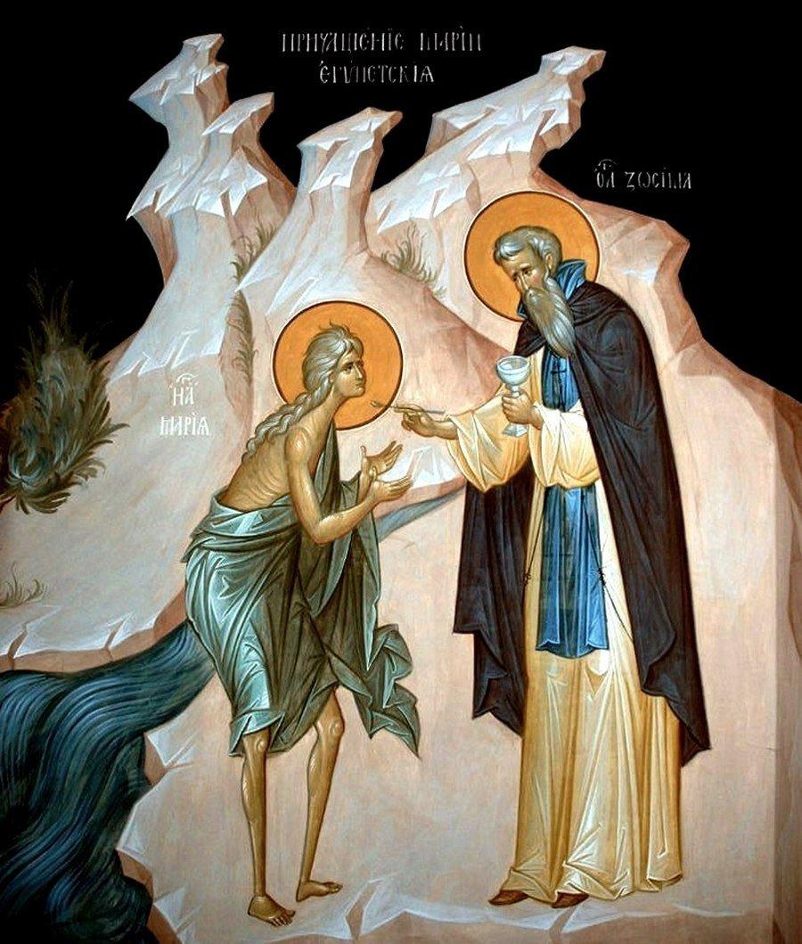 Причащение Преподобной Марии Египетской. Иконописец Александр Деркачёв.