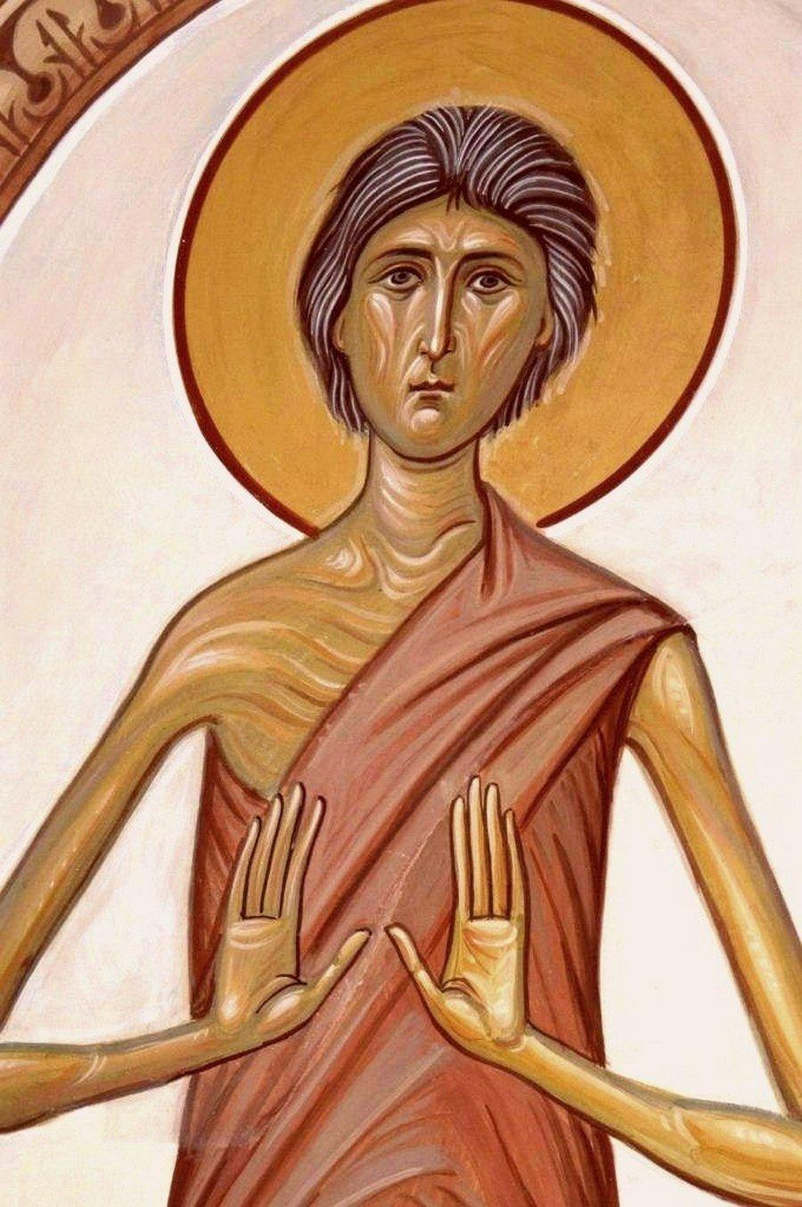 Святая Преподобная Мария Египетская. Роспись храма Преподобного Илариона Великого в Оптиной Пустыни.