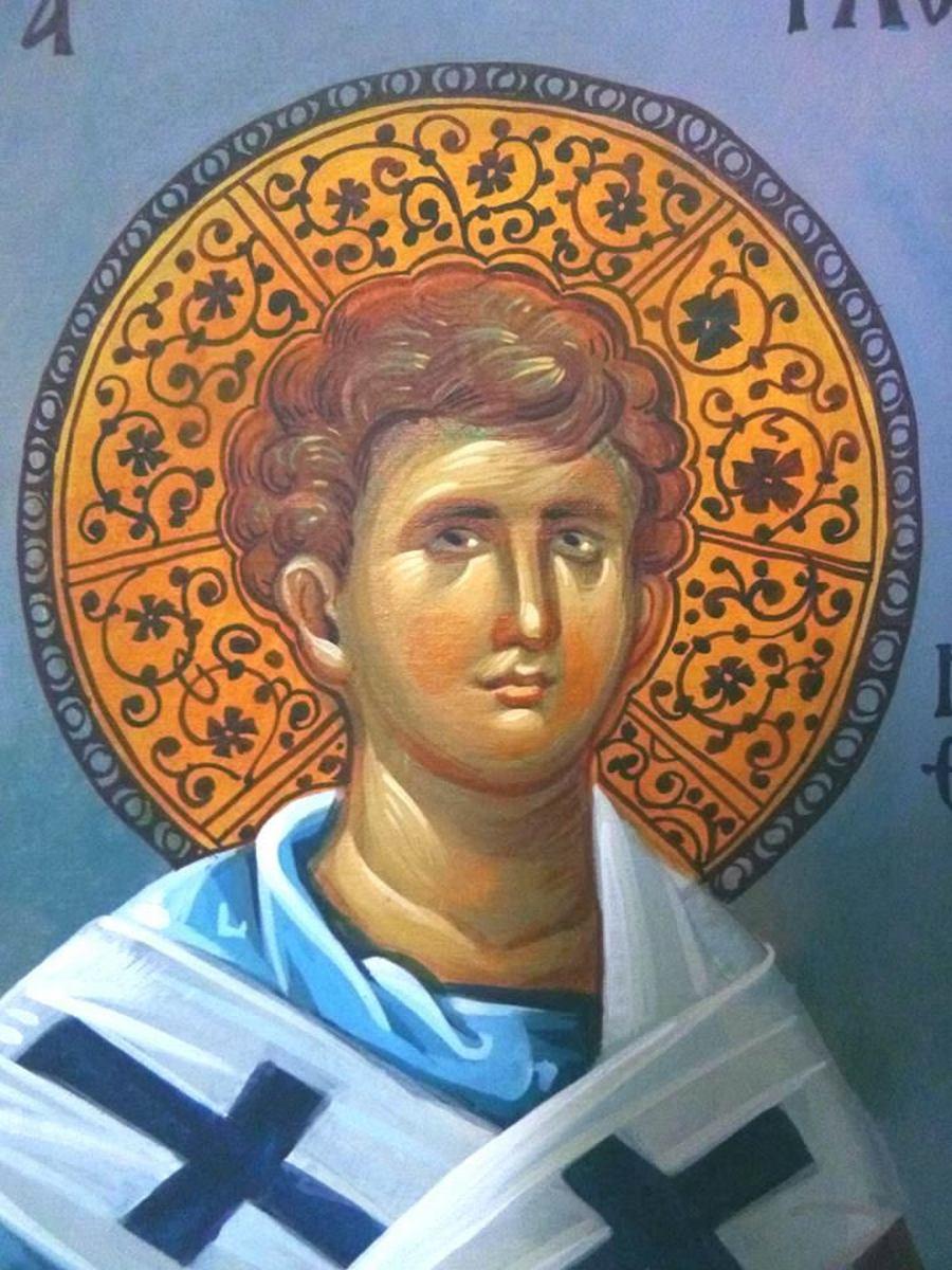 Святой Апостол от Семидесяти Флегонт, Епископ Марафонский. Современная греческая церковная роспись.