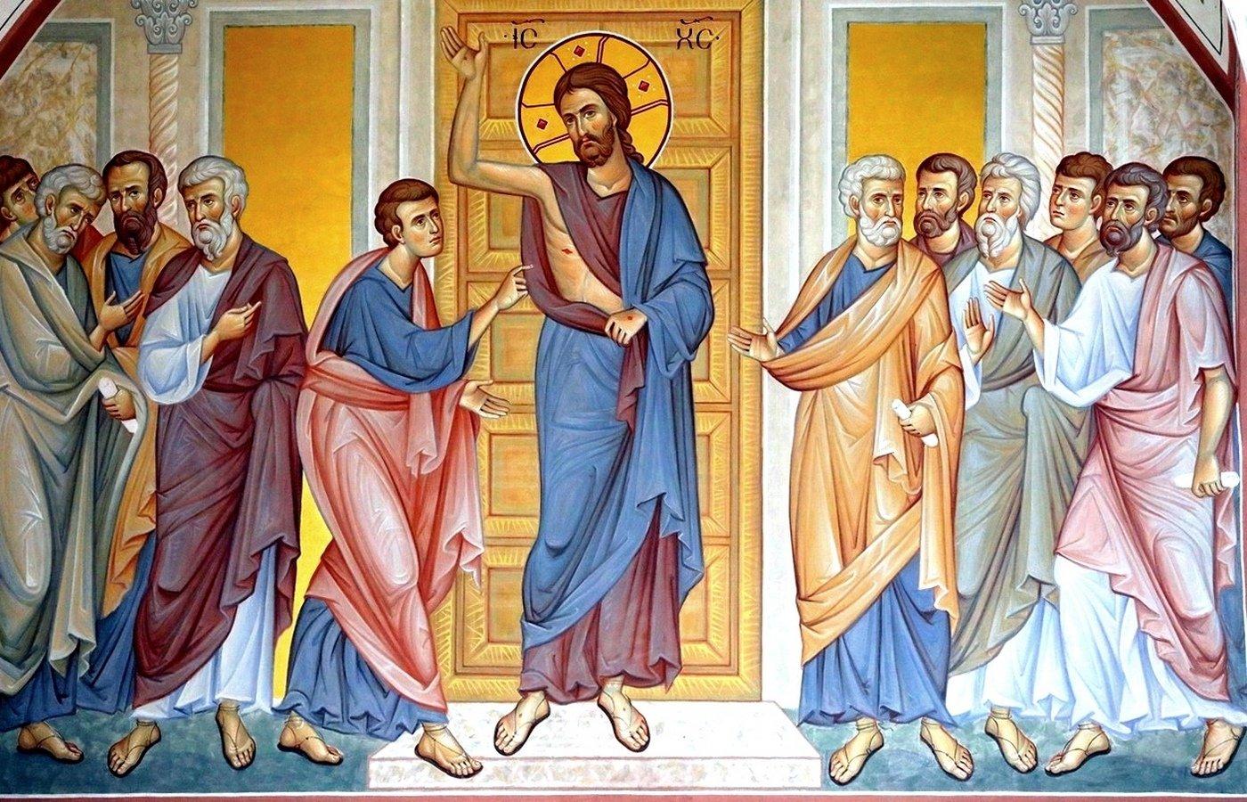 Уверение Апостола Фомы. Современная церковная роспись.