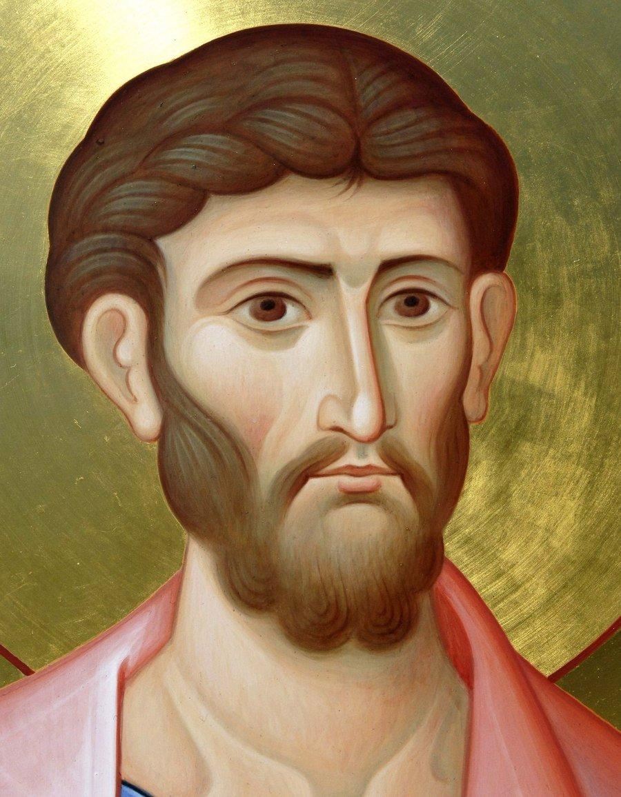 Святой Апостол Иаков Зеведеев. Современная икона. Фрагмент.