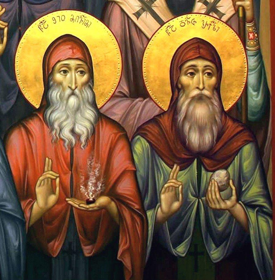 Святые Тринадцать Сирийских (Ассирийских) отцов. Современная грузинская фреска. Фрагмент. Святые Преподобные Шио Мгвимский и Давид Гареджийский.