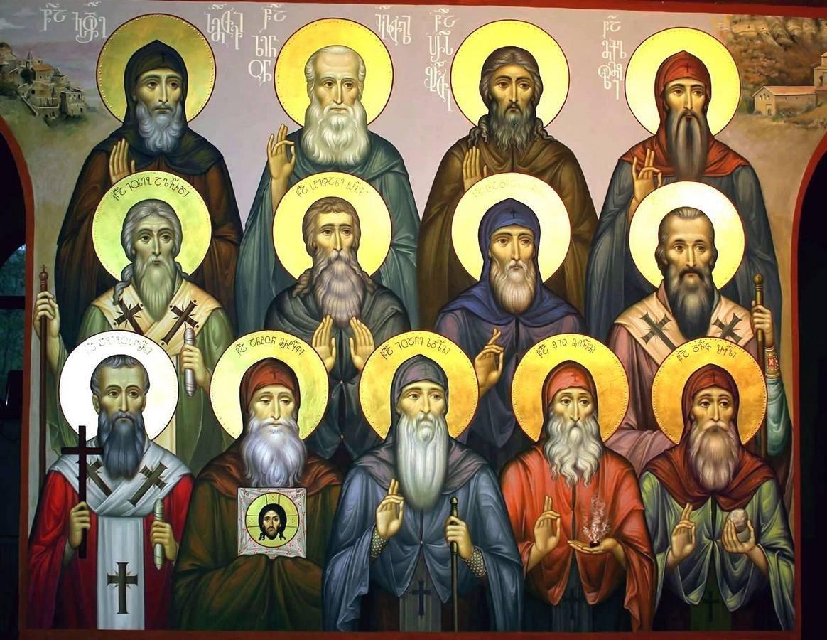 Святые Тринадцать Сирийских (Ассирийских) отцов. Современная грузинская фреска.