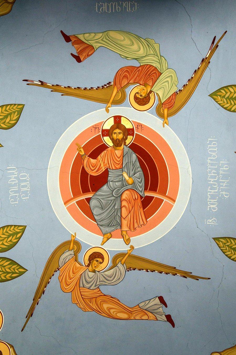 Вознесение Господне. Фреска монастыря Моцамета, Грузия.