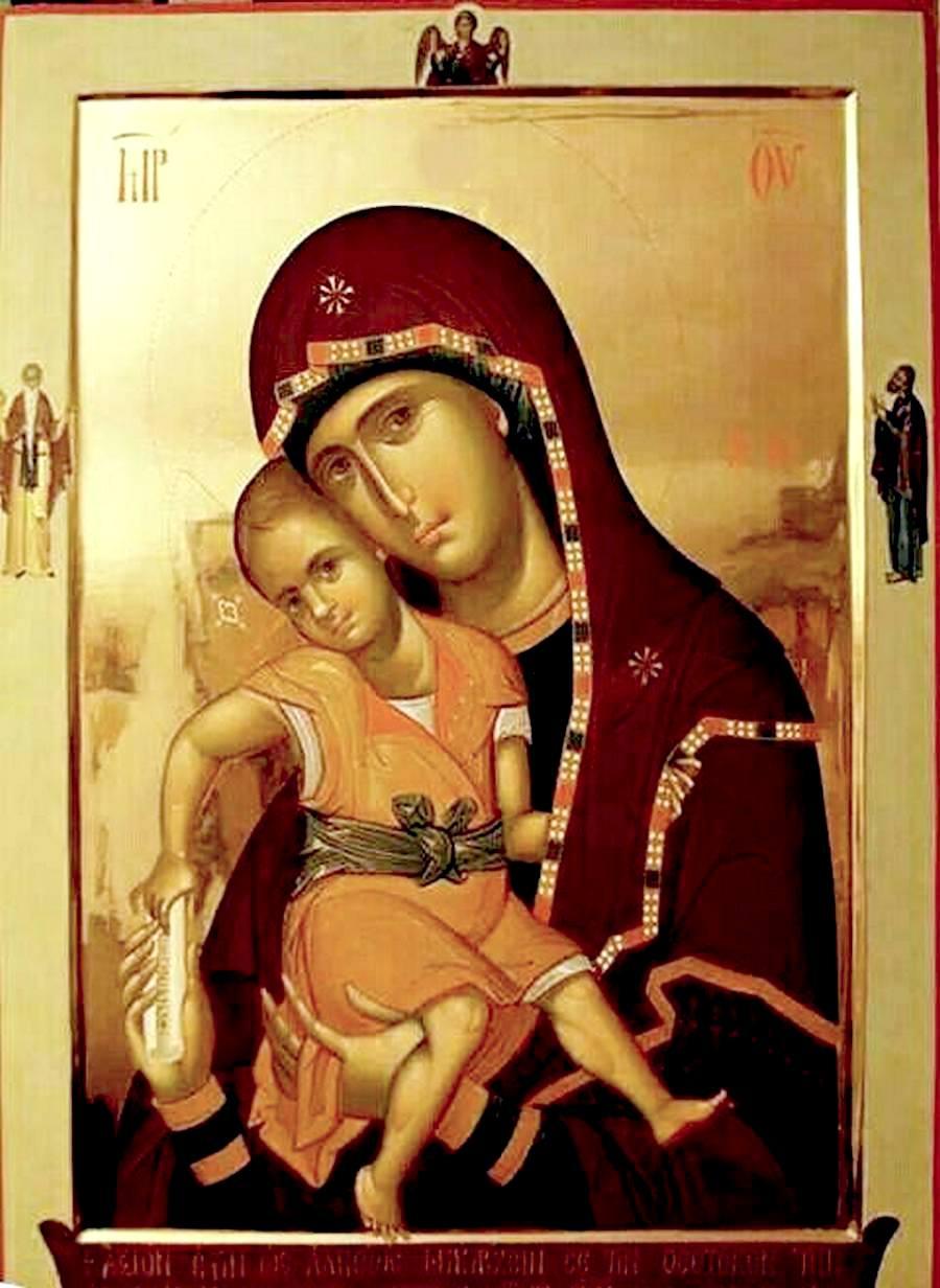 """Икона Божией Матери """"Достойно есть"""". Иконописец о. Илие Бобаяну."""