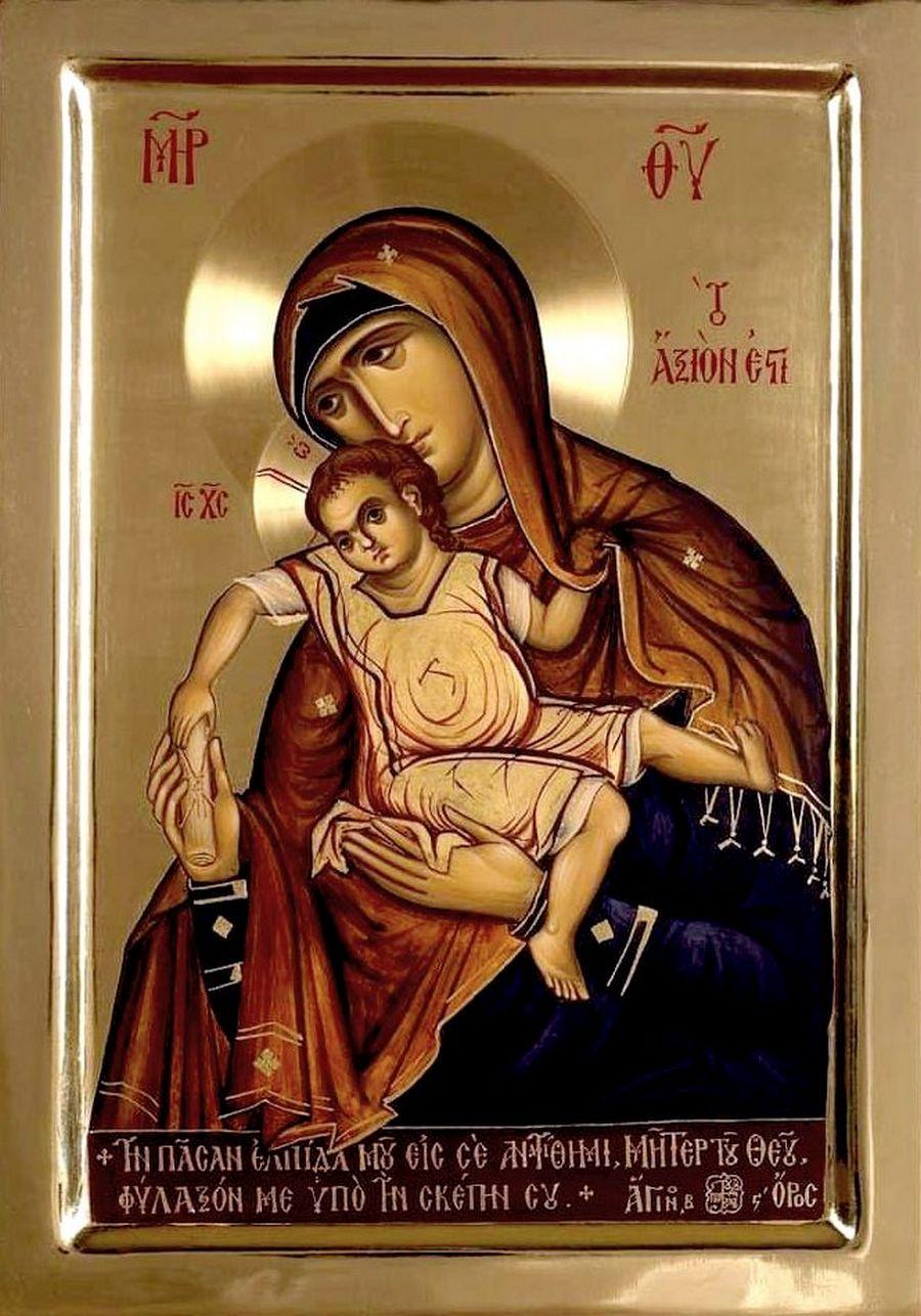 """Икона Божией Матери """"Достойно есть"""". Современный греческий список."""