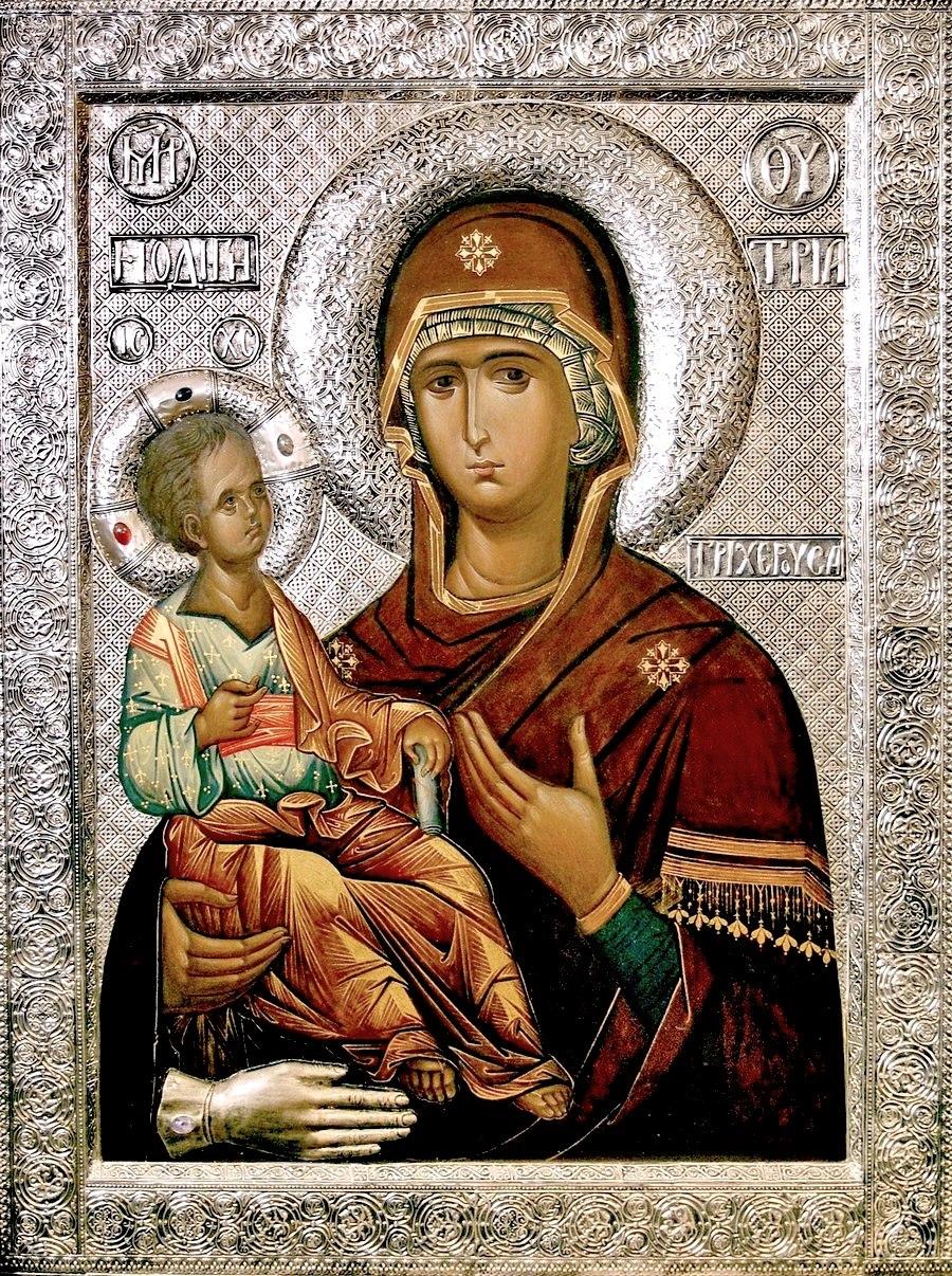 """Икона Божией Матери """"Троеручица"""". Написана в иконописной мастерской Николаевского Малицкого мужского монастыря."""