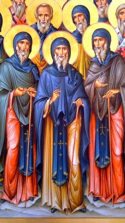 Святые тринадцать Сирийских (Ассирийских) отцов. Иконописец Зураб Модебадзе. Фрагмент иконы.
