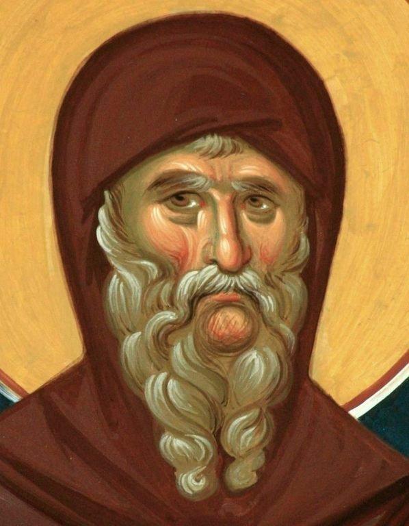 Святой Преподобный Антоний Великий. Современная румынская фреска.
