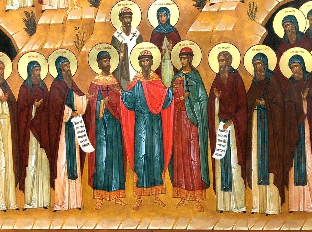 Собор всех Преподобных отцов Киево-Печерских. Современная икона. Фрагмент.