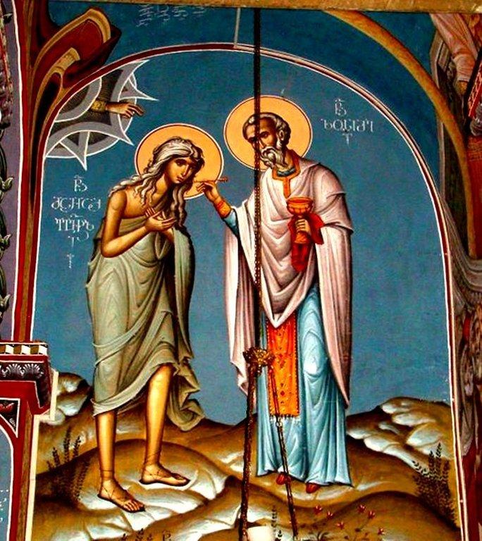 Причащение Преподобной Марии Египетской. Иконописец Зураб Модебадзе.