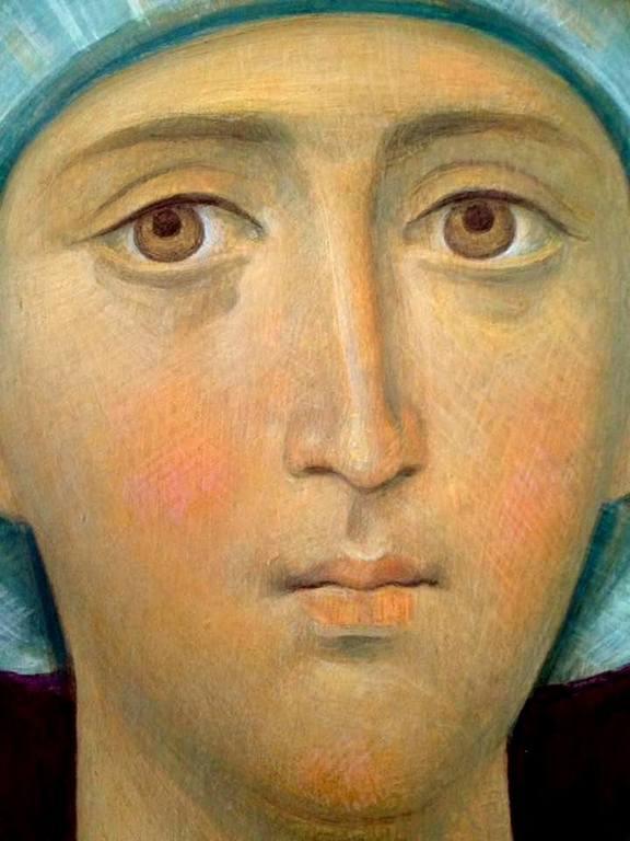Лик Пресвятой Богородицы. Роспись храма Новомучеников и Исповедников Российских в Беслане.