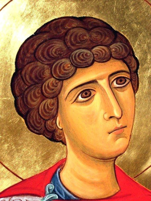 Святой Великомученик Георгий Победоносец. Фрагмент современной грузинской иконы.