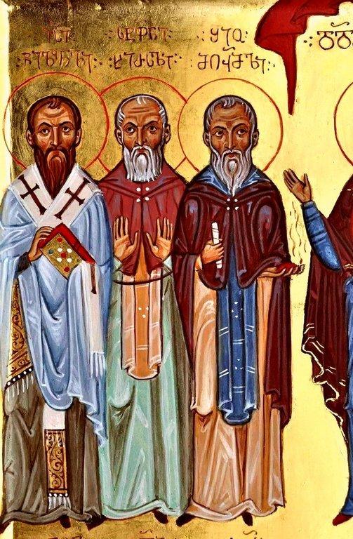 Святые Тринадцать Ассирийских (Сирийских, Каппадокийских) отцов. Современная грузинская икона. Фрагмент.