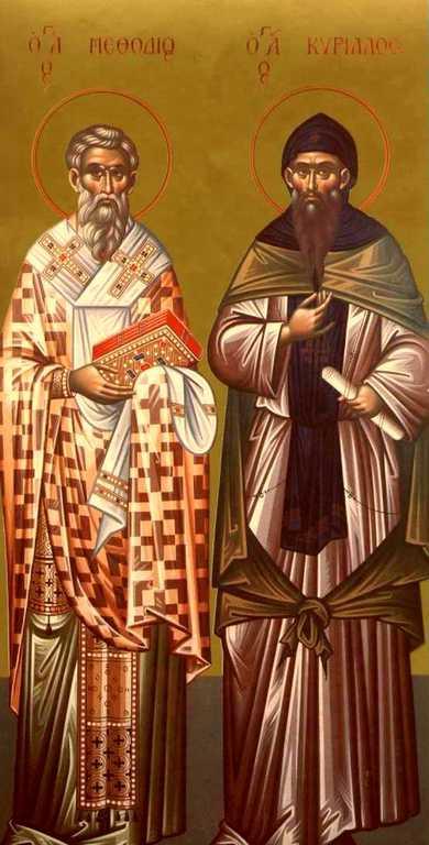 Святые Равноапостольные Мефодий и Кирилл, просветители славян. Современная греческая икона.