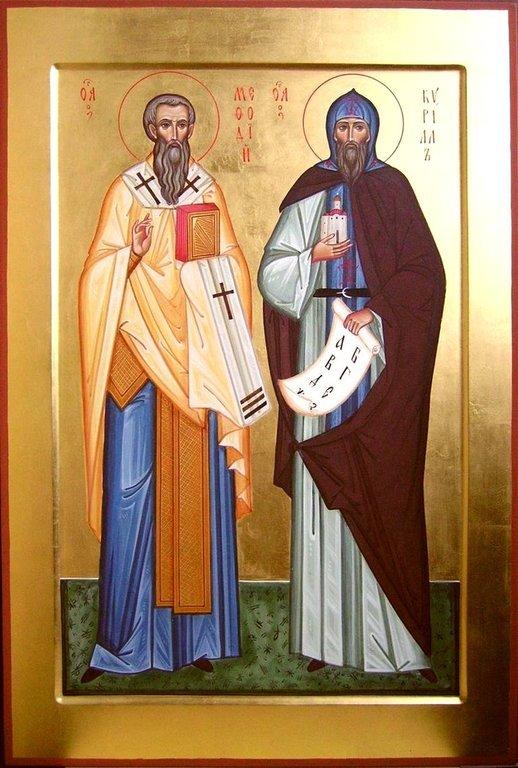 Святые Равноапостольные Мефодий и Кирилл, просветители славян. Современная икона.