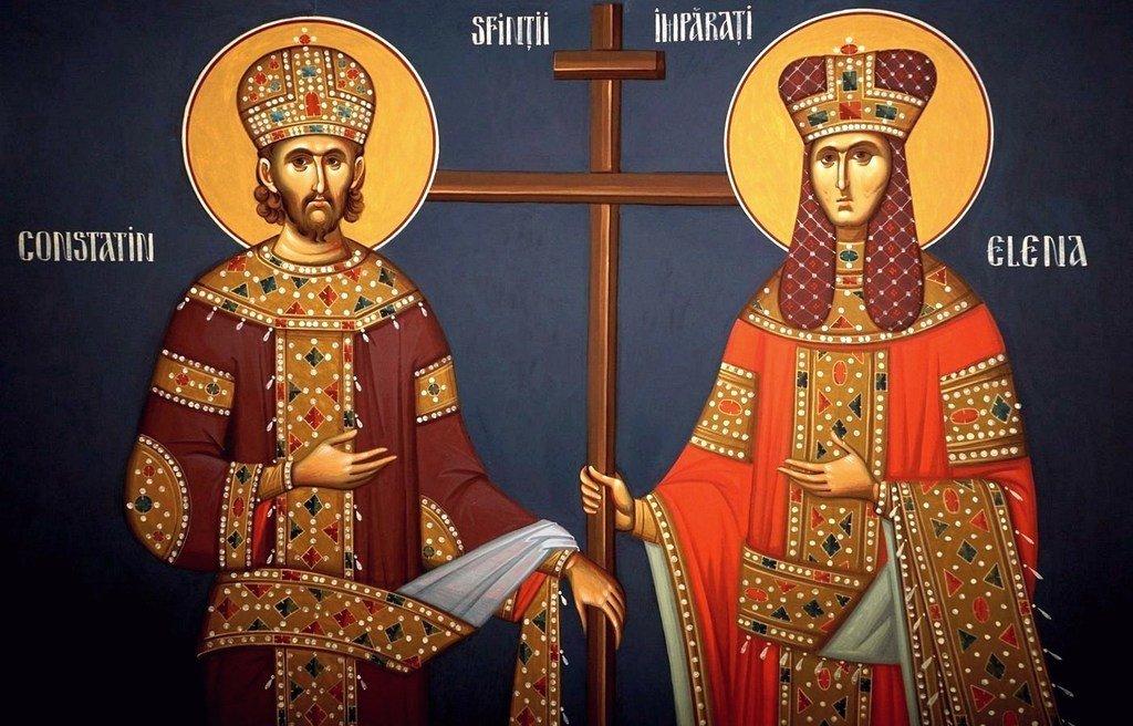 Святые Равноапостольные Царь Константин и Царица Елена. Современная румынская фреска.