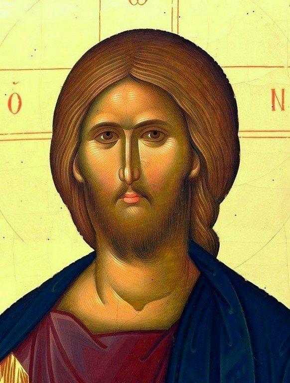 Христос Пантократор. Современная румынская икона. Лик Спасителя.