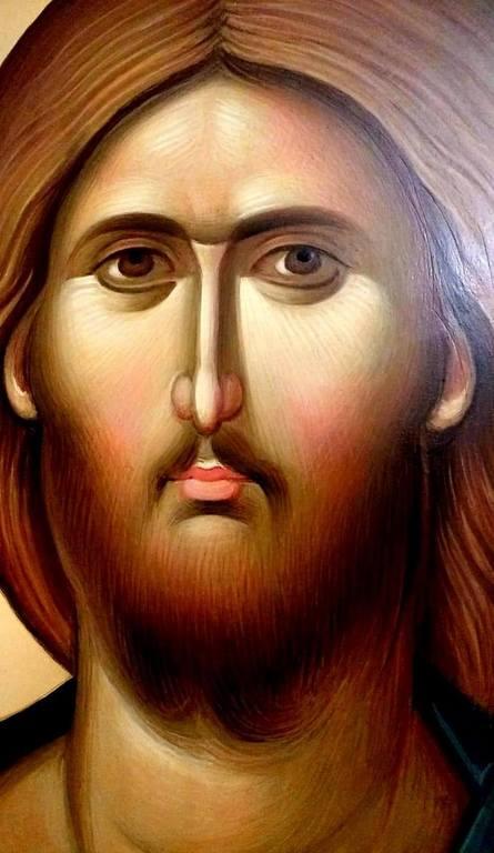 Лик Спасителя. Фрагмент современной румынской иконы.
