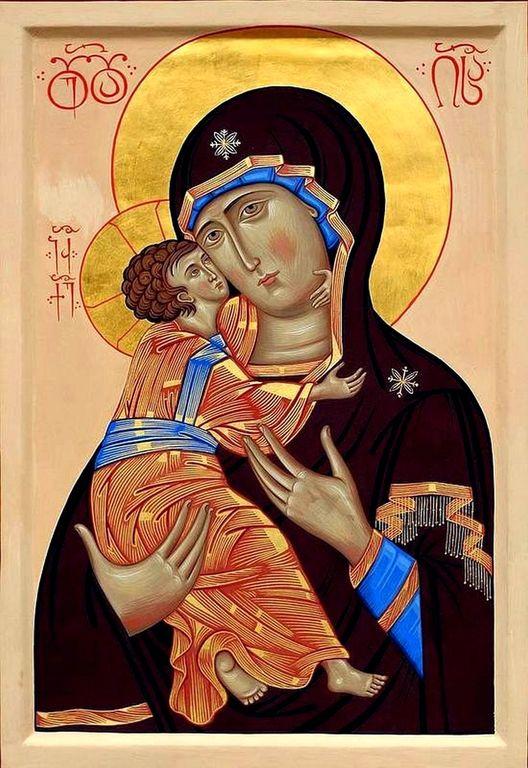 Владимирская икона Божией Матери. Иконописец архимандрит Лазарь (Абашидзе).