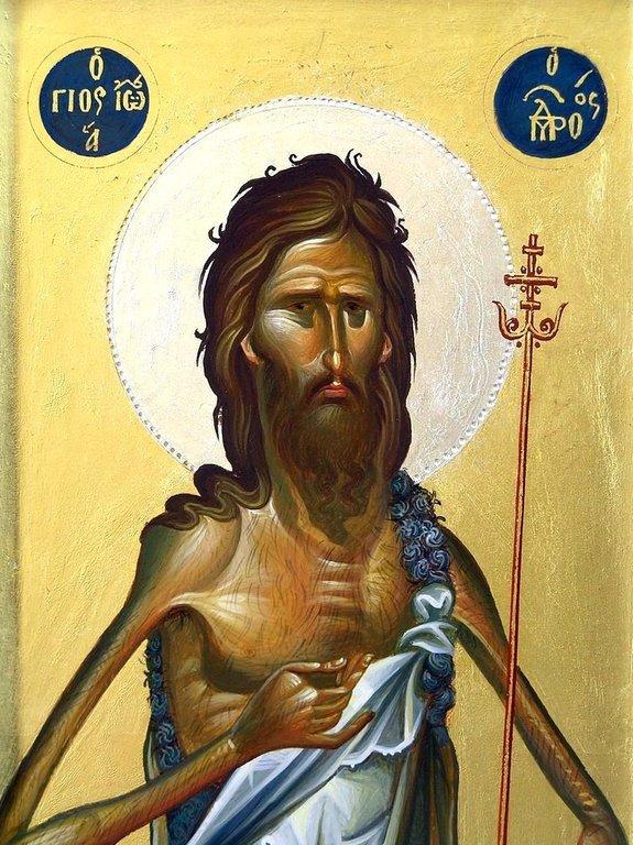 Святой Иоанн Предтеча. Современная греческая икона. Фрагмент.