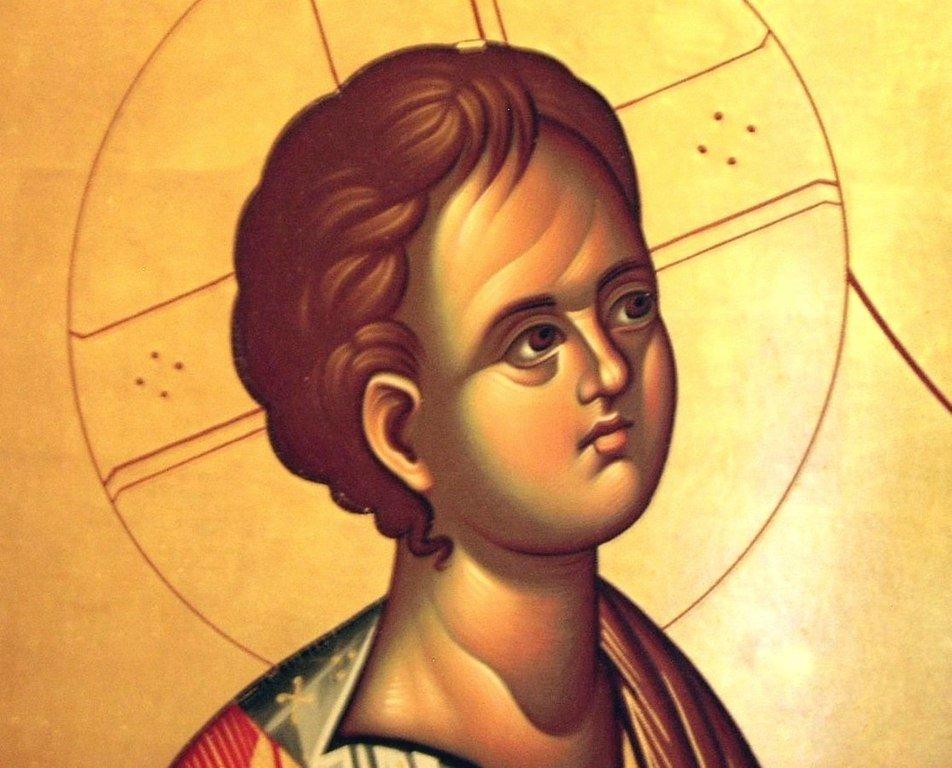 """Икона Божией Матери """"Троеручица"""". Современный сербский список. Фрагмент."""