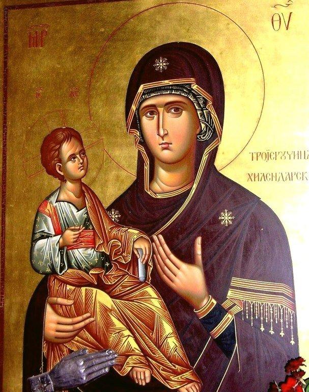 """Икона Божией Матери """"Троеручица"""". Современный сербский список."""