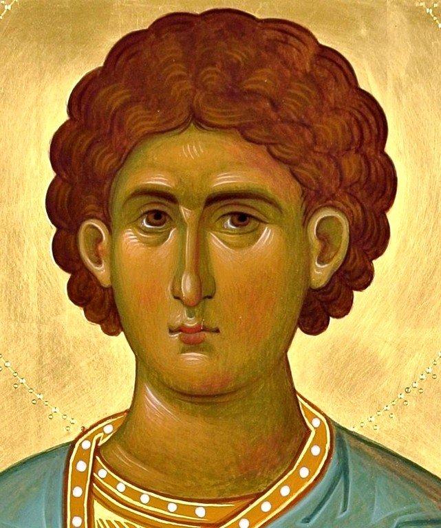 Святой Мученик Иларий Калиптский. Современная икона. Фрагмент.