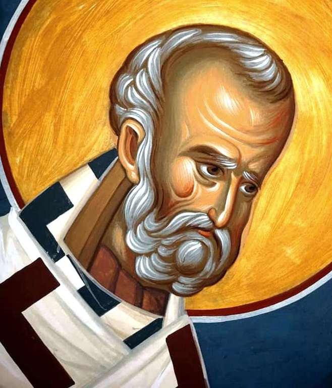 Святитель Николай, Архиепископ Мир Ликийских, Чудотворец. Современная румынская фреска.