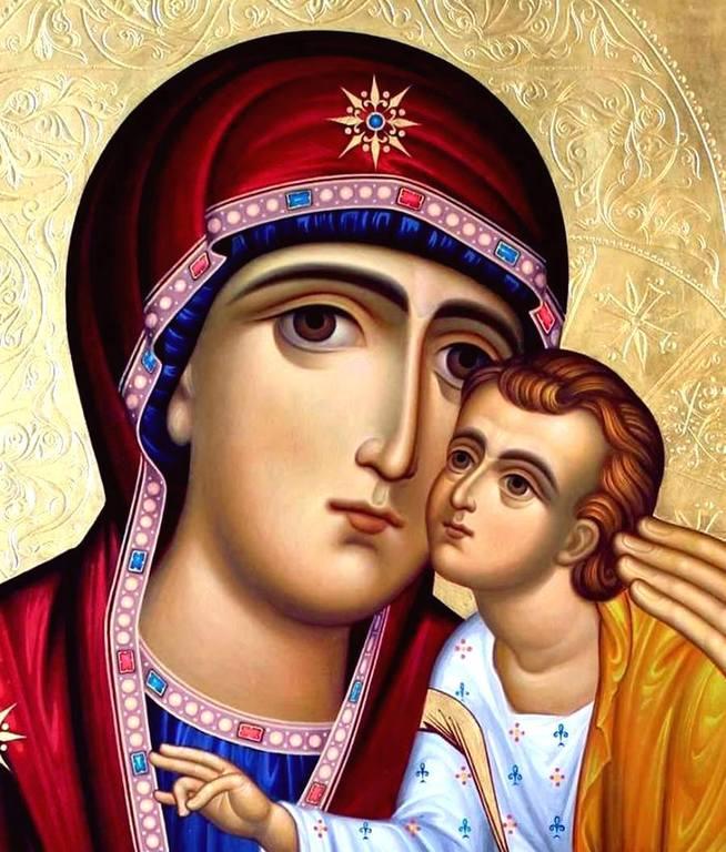 Богоматерь Елеуса. Современная грузинская икона. Фрагмент.