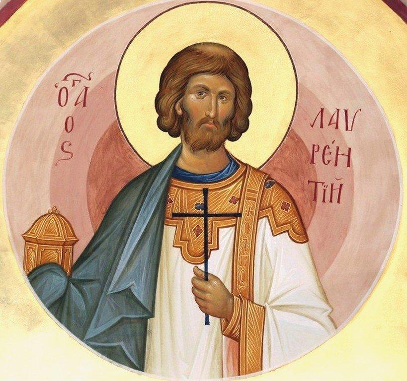Святой Мученик Лаврентий, Архидиакон Римский. Современная икона.