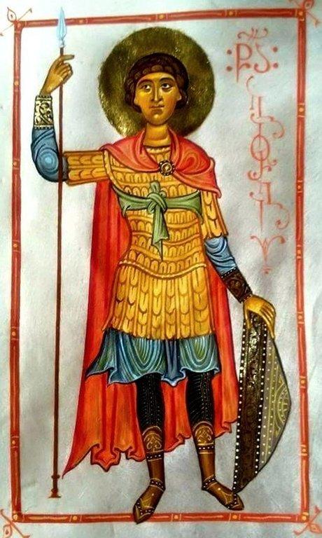 Святой Великомученик Георгий Победоносец. Современная грузинская миниатюра.