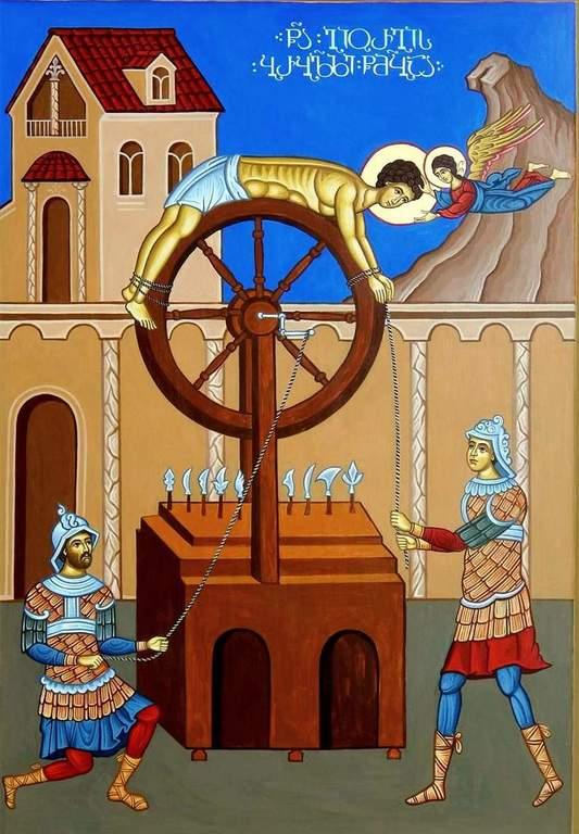 Колесование Святого Великомученика Георгия. Современная грузинская икона.